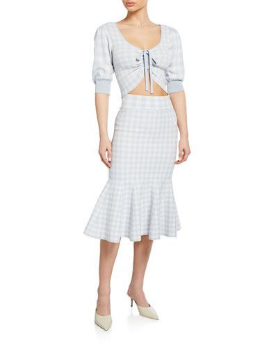 Ruched-Front Gingham Crop Top and Matching Items