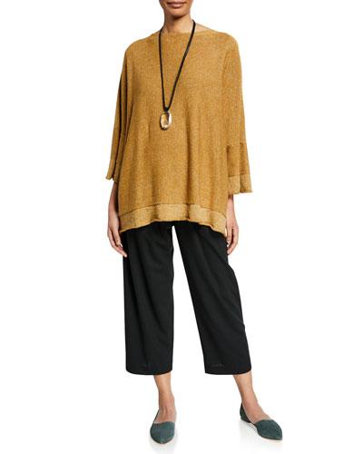 Raw-Edge Reverse Square Short-Sleeve Top and Matching Items