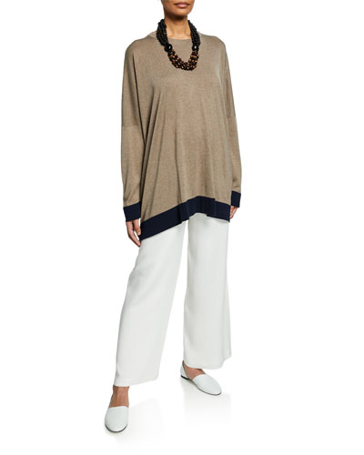 Contrast Hem Silk Top and Matching Items