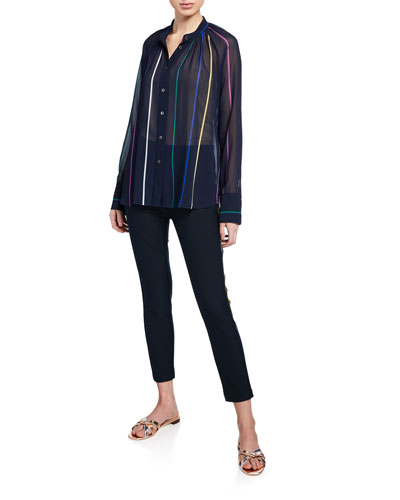 Cropped Flare Trouser w/ Rainbow Stripe Embroidery and Matching Items