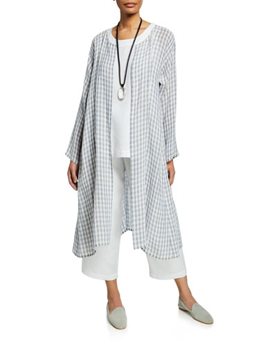 Two-Tone Gingham Linen Gauze Coat and Matching Items