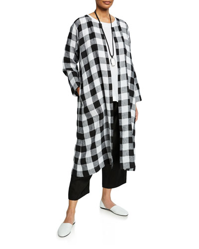 Linen Check Side-Pleat Coat and Matching Items
