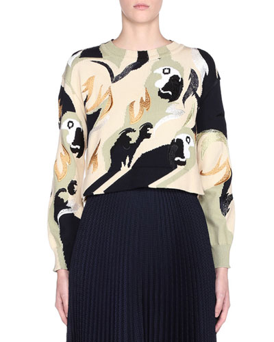 Bird Print Long-Sleeve Crewneck Sweater and Matching Items
