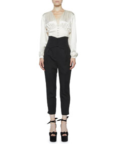 High Rise Button Banded Crop Trousers by Saint Laurent