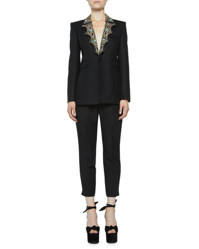 Blazer with Leopard-Print Western Lapels and Matching Items
