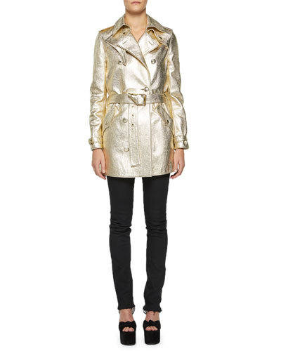 Metallic Leather Trench Coat and Matching Items