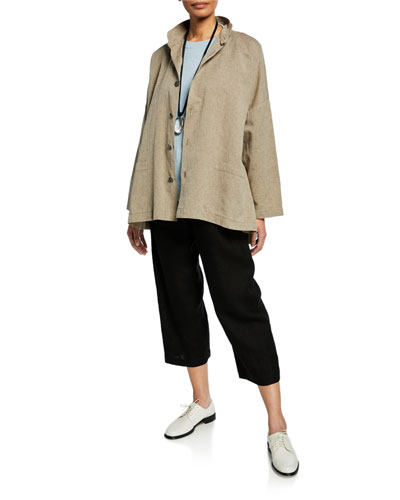 Seamed Linen-Cotton High-Low Jacket and Matching Items