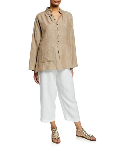 Melange Linen Sloped-Shoulder Smock Shirt and Matching Items