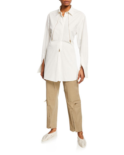 Cotton Zip-Front Popover Shirt and Matching Items