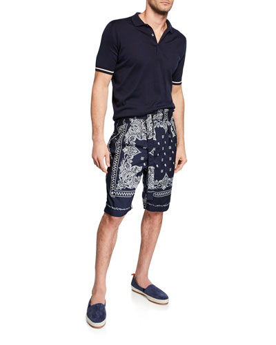 Men's Bandana-Print Belted Shorts and Matching Items