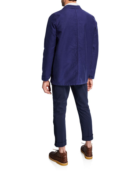 Men's Long-Sleeve Stripe Woven Sport Shirt