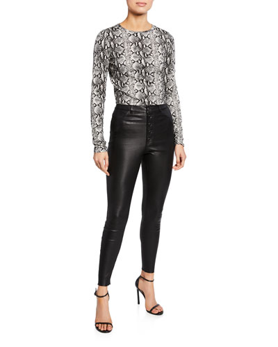 Mikah Leather High-Rise Button-Front Pants and Matching Items