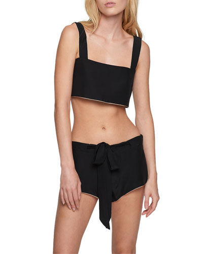 Amour Contrast-Piping Crop Top and Matching Items