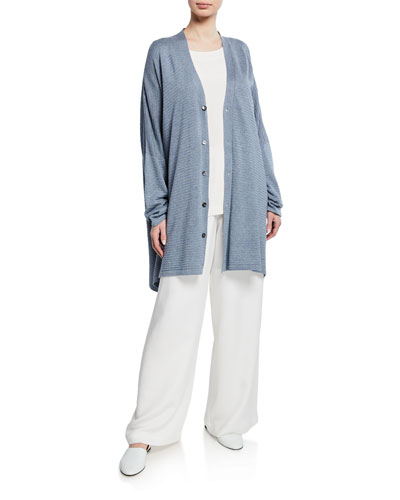 Long V-Neck Ribbed Silk Cardigan and Matching Items