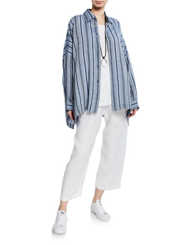 Striped Linen Button-Front Shirt and Matching Items