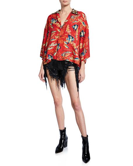 Shredded Slouchy Sequined Denim Shorts