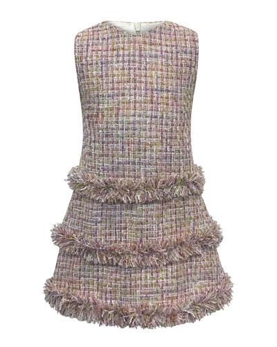 Sleeveless Fringe Tweed Dress  Size 2-6  and Matching Items