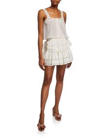 Ruffle Mini Skirt W/ Lace by Loveshackfancy