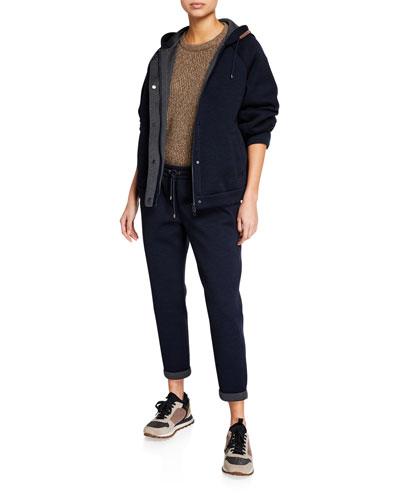 Monili-Hooded Wool & Cotton Jacket and Matching Items