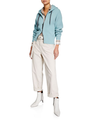 Ribbed Cashmere Zip-Front Hoodie Cardigan and Matching Items