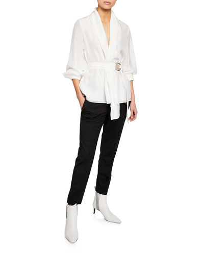Long-Sleeve Monili-Belted Georgette Blouse and Matching Items