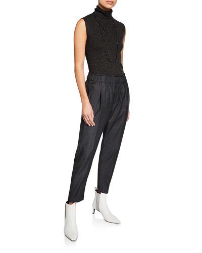 Metallic Cashmere-Blend Turtleneck Sleeveless Sweater and Matching Items