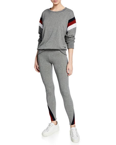 Striped Color-Inset Yoga Pants