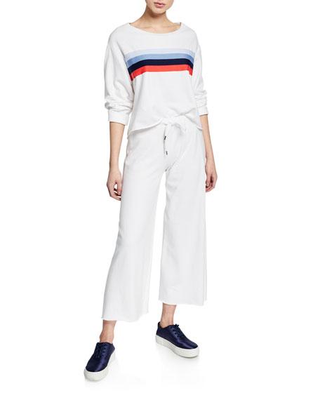 Striped Raw-Edge Boxy Cotton Sweatshirt