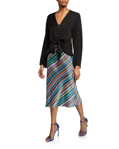 Elizabeth V-Neck Tie-Front Top and Matching Items