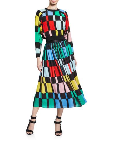 Melda Checkered Midi Gathered Skirt and Matching Items