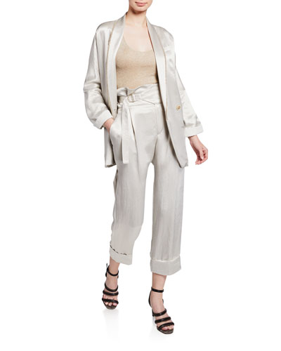 Textured Satin Double-Breasted Blazer and Matching Items