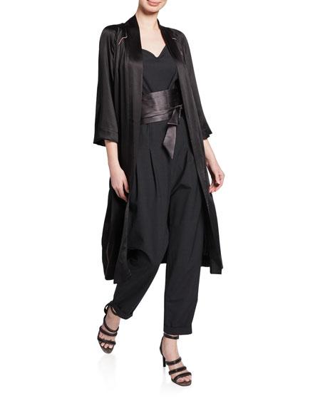 Monili-Beaded Satin Kimono