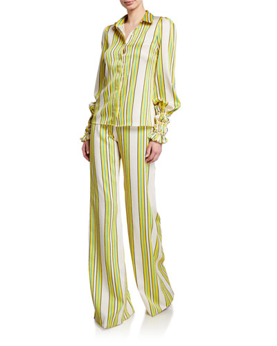 Catina Striped Button-Front Long-Sleeve Satin Top and Matching Items