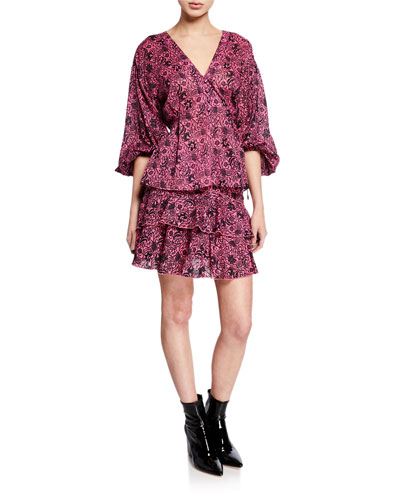 Blouson-Sleeve Floral-Print Blouse and Matching Items