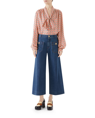 Tie-Neck Diagonal Stirrup Print Twill Shirt and Matching Items