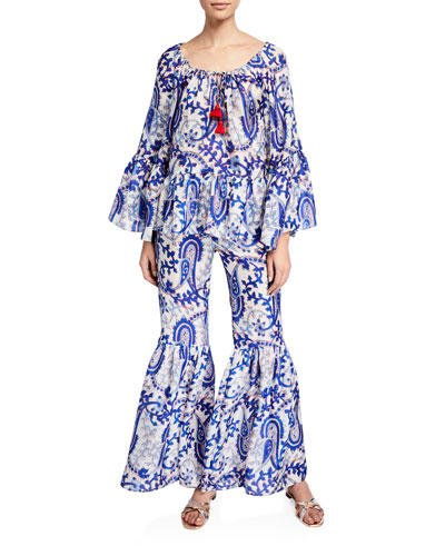 Giselle Tassel-Tie Printed Top and Matching Items
