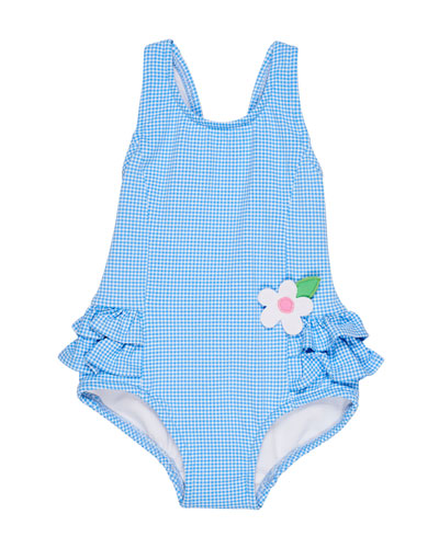 Gingham Ruffle-Trim One-Piece Swimsuit  Size 6-24 Months  and Matching Items