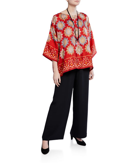 Flared Wide-Leg Silk Trousers