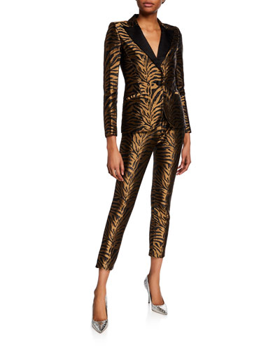 Golden Tiger-Jacquard Tuxedo Blazer and Matching Items