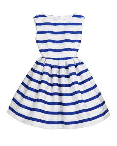 Horizontal Stripe Organza Pleated Dress  Size 2-6 and Matching Items