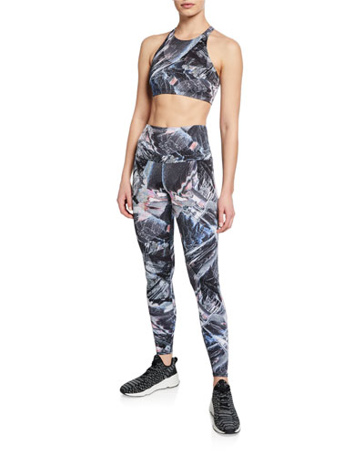 High-Rise Abstract Printed Active Leggings and Matching Items