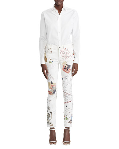 High-Low Cotton Boyfriend Blouse  White and Matching Items