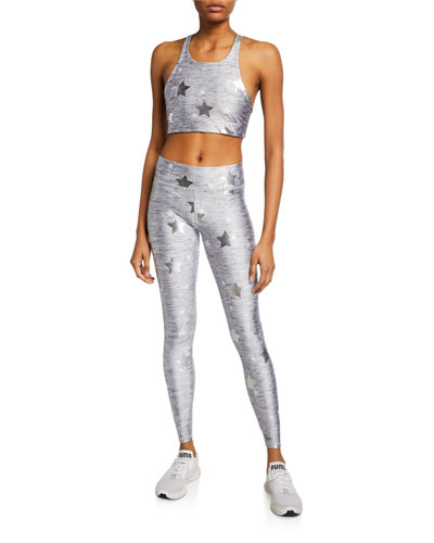 Stars Foil-Printed Heathered Balayage Leggings and Matching Items