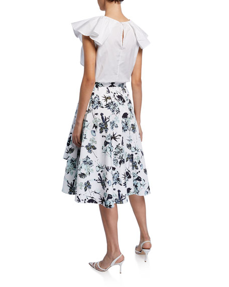 Pleated Floral-Print Poplin Skirt