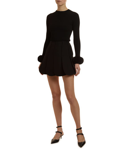 Disc-Cuff Ribbed Crewneck Sweater and Matching Items
