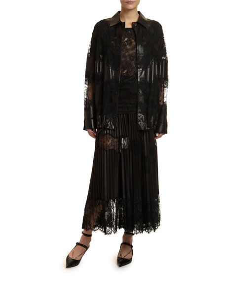 Leather & Lace Button-Front Jacket
