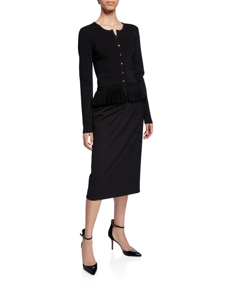 Pleated-Hem Button-Front Cardigan