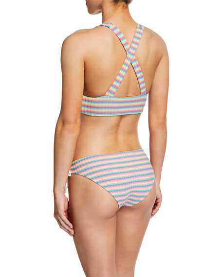 Victoria Striped Lace-Up Bikini Top