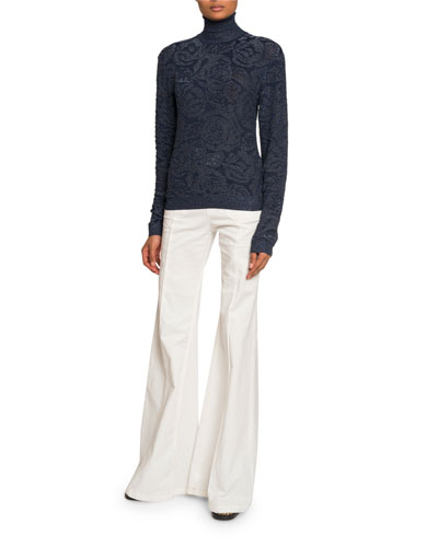 Shimmered Floral Jacquard Turtleneck Sweater and Matching Items