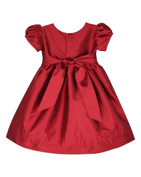 Timeless Taffeta Puffy-Sleeve Dress, Size 2-4T
